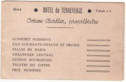 """Sixt    """"  HOTEL  Du  TENNEVERGE  """"   Octave  Barbier ,  Propriétaire... (carte Pub. 3 Volets) (format : 14 Cm. X 9 Cm) - Sixt-Fer-à-Cheval"""