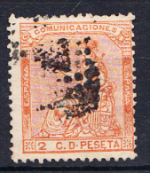 ESPAÑA 1872. 1ª REPUBLICA . EDIFIL Nº131  2 CENT. NARANJA  .USADO .SES 634 - 1873 1ª República