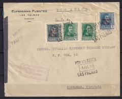 1938, GUERRA CIVIL, CORREO AÉREO,  DE LAS PALMAS A RICHMOND EN LOS ESTADOS UNIDOS, CORREO AÉREO, CENSURADO - 1931-Heute: 2. Rep. - ... Juan Carlos I