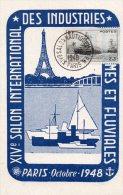- Oblitération Premier Jour, XIVe Salon International Des Industries Maritimes Et Fluviales , Oct. 1948 Vignette - 941 - France