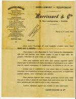 Publicité Harrissard Rue Lesdiguières Paris Fournitures Générales Sapeurs-Pompiers Tarif Tenues Officiers Sapeurs 1903 - Werbung