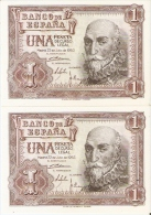 PAREJA CORRELATIVA DE ESPAÑA DE 1 PTA DEL AÑO 1953 SERIE Q SIN CIRCULAR-UNCIRCULATED  (BANKNOTE) - [ 3] 1936-1975 : Régimen De Franco