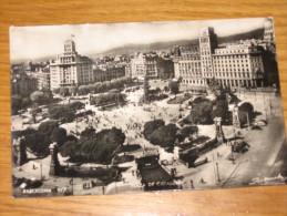BARCELONA PLAZA DE CATALUNA 1959 BN VG ... DA VEDERE   MOLTO PARTICOLARE - Spain
