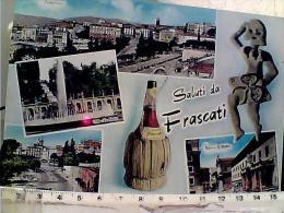 FRASCATI Roma SALUTI VEDUTE PIAZZA ROMA  E S PIETRO FIASCO DI VINO WINE   VB1968 EI4052 - Altre Città