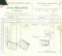 "Document Van Remicourt Naar Naninne  1909 - ""Poids Reconnu Remicourt"" Etc... - 1895-1913"
