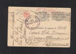 Croce Rossa Italiana Commisione Dei Prigionieri Di Guerra Cartolina Per Campo Mannheim 1918 - 1900-44 Victor Emmanuel III.