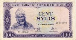 BILLET # GUINEE # 1971 # 100 SYLIS   # PICK 19 # CIRCULE # - Guinea