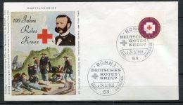 """First Day Cover Bund 1963 Mi.Nr.400 """"Erstagsbrief """"100 Jahre Internationales Rotes Kreuz,Verwundeten Versorgung"""" 1 FDC - Secourisme"""