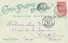 027/22 - Carte-Vue (Edition Vasseur-Delmée) TOURNAI La Gare + TP Fine Barbe CELLES 1900 Vers EPINAL - 1893-1900 Thin Beard