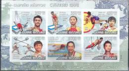 A0215 Sport Olympics Atletics Winners Champions Chinese 2009 Guinea-Bissau Sheet MNH ** Imperf Imp - Summer 2008: Beijing