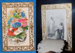 Image Pieuse à Volet, Rabat, Système, Chromo, Bouquet De Fleurs, Chez Félix, Paris, 1868, Marie Gauthier, Auxerre - Andachtsbilder