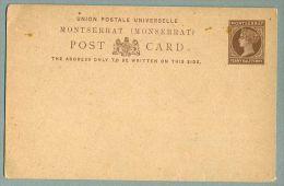 Montserrat Postal Card 1 1/2d Queen Victoria Red Brown On Smooth Buff 1884-87 (PS-26) - Montserrat