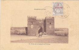 Cpa Colonne De FEZ - Porte De La Casbah De Mrdhya  Ttimbre Surchargé 1 Centimo) - Fez