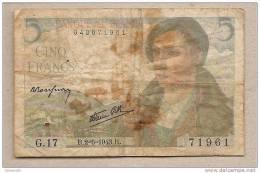 Francia - Banconota Circolata Da 5 Franchi - 1943 - 1871-1952 Antichi Franchi Circolanti Nel XX Secolo