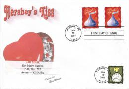USA 2007 Hershey Love Kiss FDC Cover To Ghana - Feesten