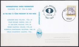 3120. Chess, Yugoslavia, 2000, 75th FIDE Anniversary, Commemorative Card - Schaken