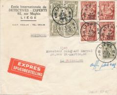 052/22 -  Lettre EXPRES TP Exportations LIEGE 1948 Vers LA BUISSIERE - Entete Ecole De Détectives - Experts - 1948 Export