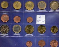 Mix-set Belgien EURO 1999-2002 Prägeanstalt Brüssel Stg. 24€ Stempelglanz Der Staatlichen Münze 1C.- 2€ Coins Of Belgica - Belgium