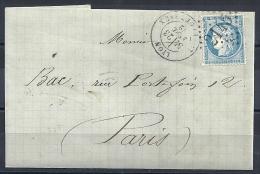 N° 60A SUR LETTRE DE LYON - AU DOS : PARIS 5 (60) + AMBULANT - 1871-1875 Cérès