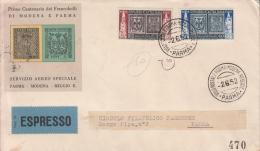 STORIA POSTALE-F.D.C.-PRIMO CENTENARIO DEI FRANCOBOLLI DI MODENA E PARMA-2-6-952-ESPRESSO-VOLO POSTALE VAL.CAT.60 F.D.C- - Posta
