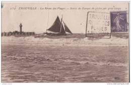 TROUVILLE  °  SORTIE DE BARQUE DE PECHE PAR GROS TEMPS - Marcophilie (Lettres)