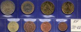 EURO-Einführung Mix-set Frankreich 1999-2002 Prägeanstalt Paris Stg. 19€ Staatlichen Münze 1C.-2€ With 8 Coins Of FRANCE - Ohne Zuordnung