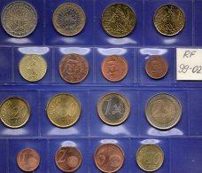 Mix-set EURO-Einführung Frankreich 1999-2002 Prägeanstalt Paris Stg. 19€ Staatlichen Münze 1C.-2€ With 8 Coins Of FRANCE - France