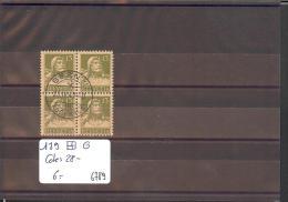 SUISSE  - No Zumstein 139  BLOC DE 4 OBLITERE -   Cote: 28 CHF - Suisse