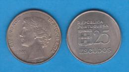 PORTUGAL  25 ESCUDOS 1.985  CU NI  KM#610  SC/UNC   T-DL-10.664 - Portugal