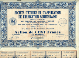 Action, Société Irrigation Souterraine, Agriculture, Paris, 30 Coupons, Complets - Asie