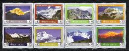 NEPAL 2004 Mountains, Mountain  Serie,. Yvert 754-61,  8v Complete Set Se-tenant, MNH(**). - Vacanze & Turismo