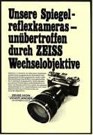 Reklame Werbeanzeige 1969 ,  Zeiss Spiegelreflexkameras Unübertroffen Durch Wechselobjektive - Photographica