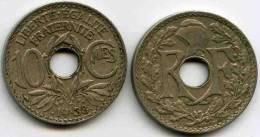 France 10 Centimes 1938 Points GAD 287 KM 889.1 - France