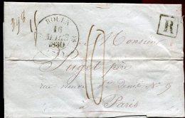 68300 A - LAC REC Cad Type 12 ROUEN (74) Mars 1830, Taxe  10 Pour Paris Avec étiquette Collée S/l'ancienne Adresse TB - 1801-1848: Précurseurs XIX
