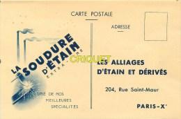 Publicité Pour La Soudure D'Etain, Alliages étain Et Dérivés, Paris Rue St Maur - Publicité