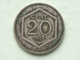1918 R - 20 Cent / KM 58 ( Uncleaned Coin / For Grade, Please See Photo ) !! - 1861-1946 : Royaume