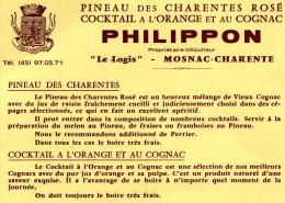 PHILIPPON    MOSNAC SUR CHARENTE    PINEAU ROSE, COGNAC A L'ORANGE - Publicidad