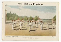 Chromo 7.5x11 Chocolat  DU PLANTEUR. - Thème Militaire. Exercice De La Boxe - Schokolade