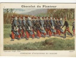 Chromo 7.5x11 Chocolat  DU PLANTEUR. - Thème Militaire. Compagnie D'Infanterie En Marche - Schokolade