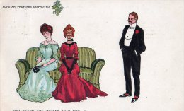 POSTED POSTCARD -  1905 - VINTAGE COMIC / HUMOUR  - PROVERBS DISPROVED, TWO HEADS ARE BETTER THAN ONE  - - Humor