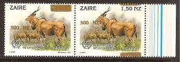 Zaire / Congo Kinshasa / RDC - NON EMIS - Surcharge 500NZ Sur COB 1454 (en Apire Avec ERREUR) - MNH / ** 1994 - Faune - Zaïre