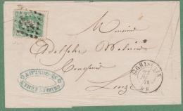 Nr. 30 - Lettre - Lp.322 St. GHISLAIN à LEUZE -  Charles LEMAN -22 Juin 1871 - 1869-1883 Leopold II.