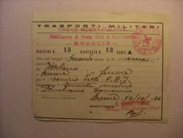 Biglietto Ferroviario TRASPORTI MILITARI  1944 - Croce Rossa Italiana Stabilimento Prima Cura Smistamento BRESCIA - Treni