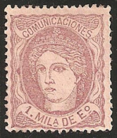 ESPAÑA 1870 - Edifil #102 Sin Goma (*) - 1868-70 Gobierno Provisional