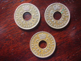 BRITISH EAST AFRICA THREE USED ONE CENT COINS BRONZE Of 1957 - ONE Of EACH MINT USED. - East Africa & Uganda Protectorates