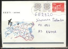 ESTONIA Brief Cover Postal History EE 044 PAIDE Cancellation Swallow National Bird Coat Of Arms - Estonia