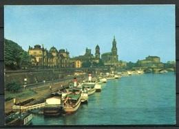 Dresden - Brühlsche Terasse - Hafen/Schiffe - N. Gel. - DDR -  J 04-75  Nr. 30002   Stemp: MS Ernst Thälmann - Dresden