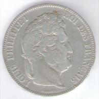FRANCIA FRANCE 5 FRANCS 1843 LOUIS PHILIPPE AG SILVER - Francia