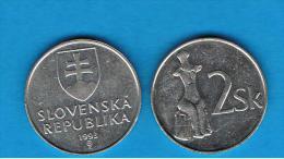 ESLOVAQUIA -  2 Koruna 1993  KM13 - Slovakia