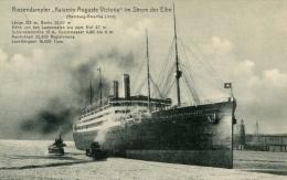 AK Dampfer Kaiserin Auguste Victoria 1906 Elbe Sp.: Empress Of Scotland Schiff Ship Steamer HAPAG Hamburg Amerika Linie - Paquebots
